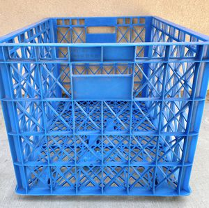 """Large size blue stackable storage container bin crate box w/ wheels 33 x 24 x 20"""" for Sale in Chino, CA"""