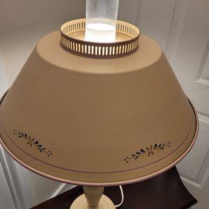 Vintage Beige Hurricane Table Lamp Metal Shades w/ Multi Color Design for Sale in Everett, WA