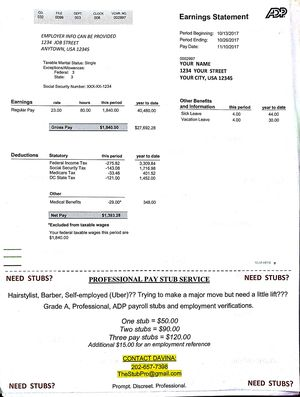 Need Stubs? Professional pay stub service for Sale in Baltimore, MD