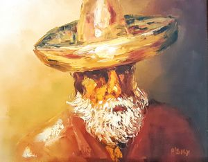 Mid century Brutalist oil or acrylic wall painting portrait painting of bearded man with hat signed P'sky for Sale in Saginaw, MI