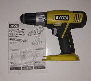 RYOBI 18v CORDLESS VARIABLE SPEED DRILL DRIVER. BUILT-IN LEVEL. DRILL BITS INCLUDED. WORKS GREAT! for Sale in Perris, CA
