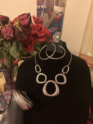 New jewelry 4pc set color silver: necklace, bracelet, earrings and ring for Sale in Orange, CA