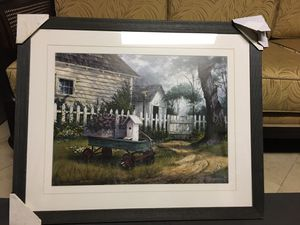 Panting of old home with white fence on a rustic wood frame and glass for Sale in Los Angeles, CA