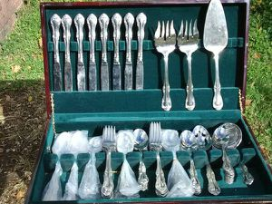 Wallace Flatware Service for 10 in Wallace Dark Walnut Flatware Chest for Sale in Washington, DC