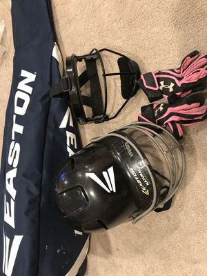 Softball / baseball helmet face mask gloves and bag for Sale in Seattle, WA