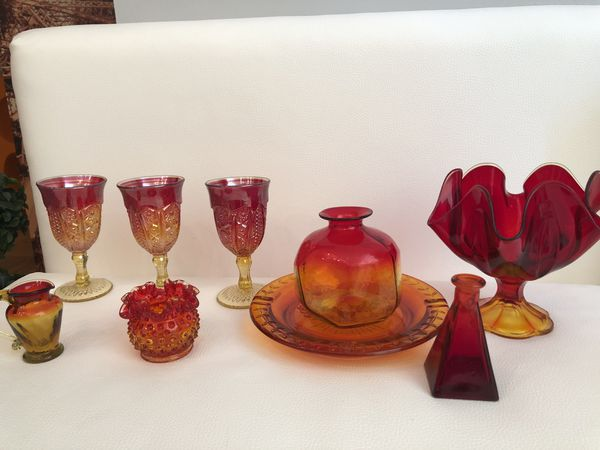 Vintage Glass Red and Amber Collection