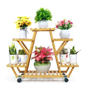 Bamboo Plant Stand with Wheels Multi-Layer Rolling Plant Flower Pots Holder Display Shelf for Sale in Houston, TX
