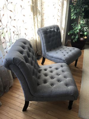 Gray Tufted Chairs - Set of 2 for Sale in Herndon, VA