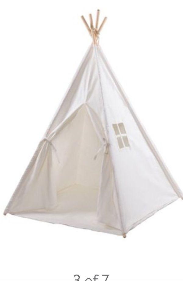 Kids teepee tent white canvas fabric