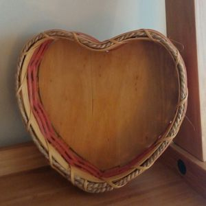 Amish Handcrafted Pink Heart Shaped Wooden Basket for Sale in Germantown, MD
