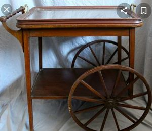 Antique tea Serving cart with glass removable tray for Sale in Lawrence, MA