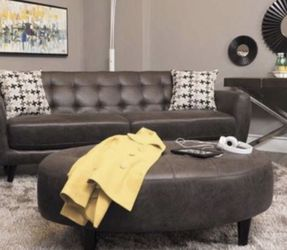 BIG SOFT LEATHER COUCH AND OTTOMAN for Sale in Aurora,  CO