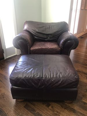 Leather chair and ottoman for Sale in Nashville, TN