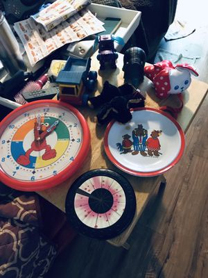 Child's toys small frisbee clock two stuffed animals etc for Sale in Portland, OR