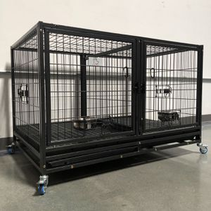 Brand new double door HD dog kennel cage🐕🦺 w/ PLASTIC FLOOR, plastic trays, wheels, removable divider🦾 see dimensions in second picture for Sale in Avondale, AZ