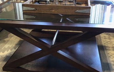 BRAND NEW $1,000+ ALLAN COPLEY DESIGNS TABLE FOR JUST $600! STYLISH MODERN ESPRESSO ON ASH WITH GLASS TOP COCKTAIL COFFEE TABLE — STILL IN BOX! for Sale in San Marcos,  CA