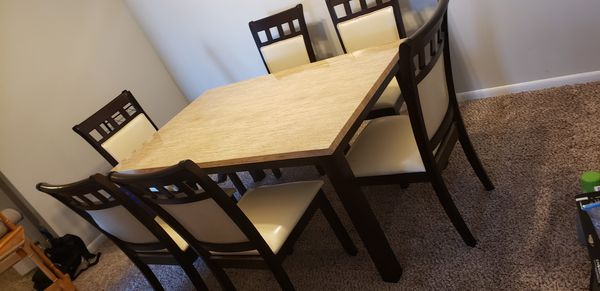 6 seat faux marble dining set