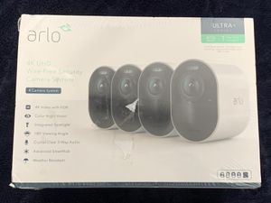 Arlo - Ultra 4-Camera Indoor/Outdoor Wire Free 4K HDR Security Camera System - White NEW for Sale in Doral, FL