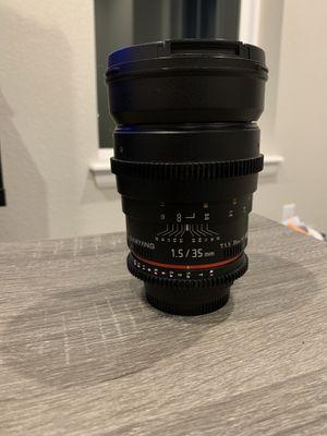 Samyang 35 mm T1.5 VDSLR II Manual Focus Video\Photo Lens for Nikon DSLR Camera for Sale in Denver, CO