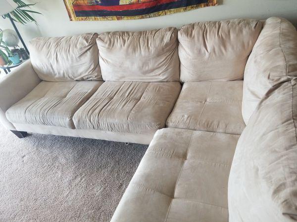 Cream Suede Sofa (good condition)