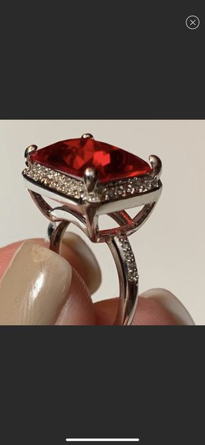 Silver Plated Ring with Lg Red Stone and CZ Diamonds for Sale in San Antonio, TX