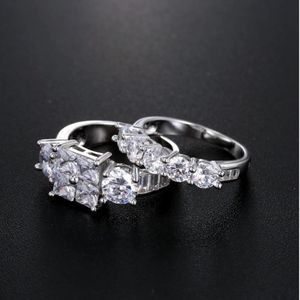 NEW 2 PC *FIRM PRICE * 18K LAYERED WHITE GOLD WEDDING RING SET for Sale in Mokena, IL