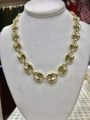 14 k gold chain anchor puff made in Italy 12 mm ( MMCH) for Sale in Houston, TX