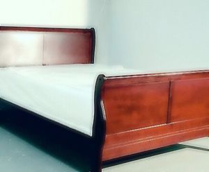Queen cherry sleigh bed with mattress and free delivery for Sale in Austin, TX