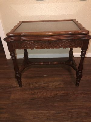 Wood end table with glass too for Sale in Dallas, TX