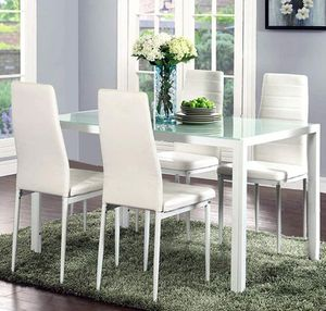 Brand new 5-piece modern dining table, dining room table, dining set, juego de comedor with glass tabletop and 4 chairs. *SAME DAY DELIVERY* for Sale in Fort Lauderdale, FL