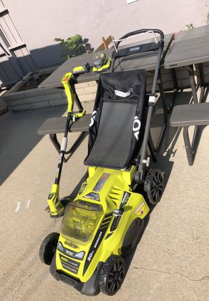 Ryobi 40v battery lawn mower & weed eater w/2 batteries & charger for Sale in Upland, CA