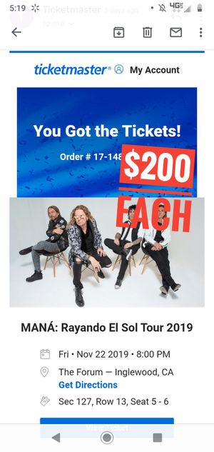 Maná Friday 11/22 Section 127 (2 Tixs) for Sale in West Covina, CA