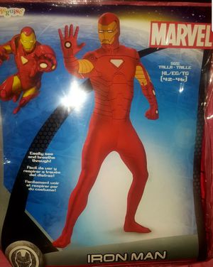 Avengers Iron Man Deluxe Halloween Costume Morph Skinovations Adult Men's Guys XL 42-46 for Sale in Pinellas Park, FL