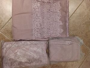 Lace new sheer pannnel window curtain curtains set bundle purple Victorian for Sale in Rancho Cucamonga, CA