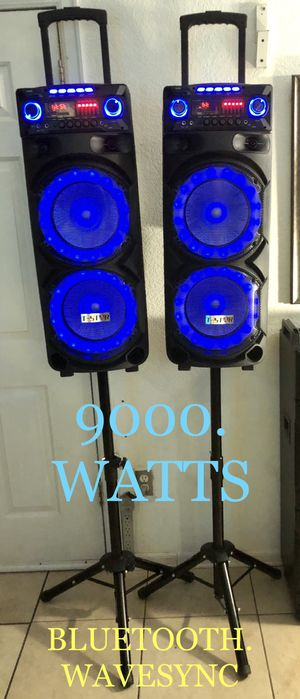 BLUETOOTH DUAL SPEAKERS RECHARGEABLE. 🎤KARAOKE WaveSync Connecting 2 speakers though Bluetooth 9000WATTS each speaker remote control. for Sale in Phoenix, AZ