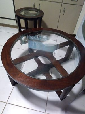 Ashley round coffee table with matching end table for Sale in Davie, FL