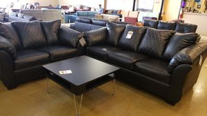 BLACK Leatherette Sofa and Loveseat Set for Sale in Phoenix, AZ