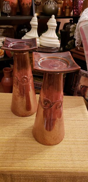 Beautiful chunky heavy ceramic candle holders 13 in tall for Sale in St. Louis, MO