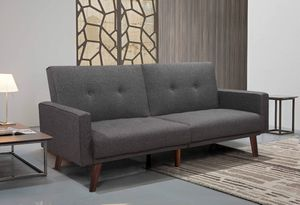 GRAY Split Back Linen Fabric Futon Sofa Bed TUFTED BUTTONS for Sale in Fontana, CA