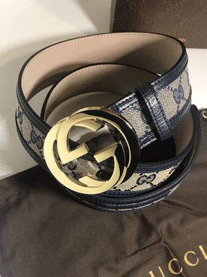 Gucci Navy Blue GG Trim Supreme Belt **XMAS SALE!! for Sale in Queens, NY