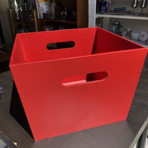 Red wood storage basket bin container for Sale in San Mateo, CA