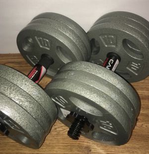 Weights over 120lb 12x10lbs plates with a set of Steel dumbbell handles for Sale in Azusa, CA