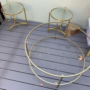 New Glass top table with golden steel frame+ 2 side tables for Sale in San Jose, CA