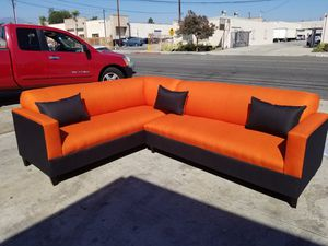 NEW 7X9FT CASSANDRA ORANGE FABRIC COMBO SECTIONAL COUCHES for Sale in Woodville, CA