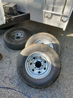 COMPLETE SET, 5 RIMS and 3 tire's. Tire size ST225/75R15 perfect for trailers for Sale in San Jacinto, CA