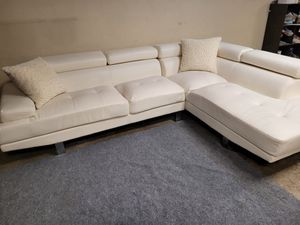 Beautiful white leather sectional couch for Sale in Renton, WA