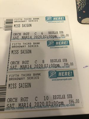 Miss Saigon Broadway tickets for Sale in Fort Myers, FL