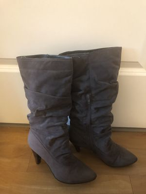 gray, suede boots for women, size 8 for Sale in Braintree, MA