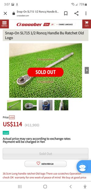 """SNAP-ON 15"""" Master Supreme Ratchet 1/2"""" SL-715 for Sale in Auburn, WA"""