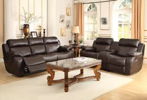 Marille Brown Bonded Leather Double Reclining Living Room Set | 9724 for Sale in Austin, TX